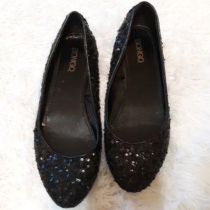 Bongo black sequin flats